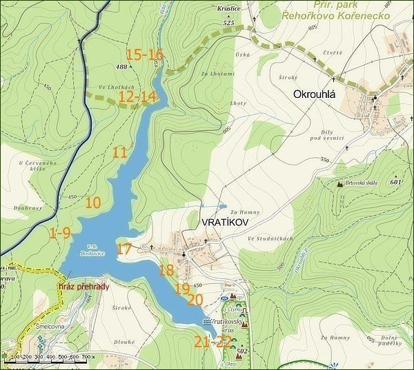 Boskovická přehrada, mapa