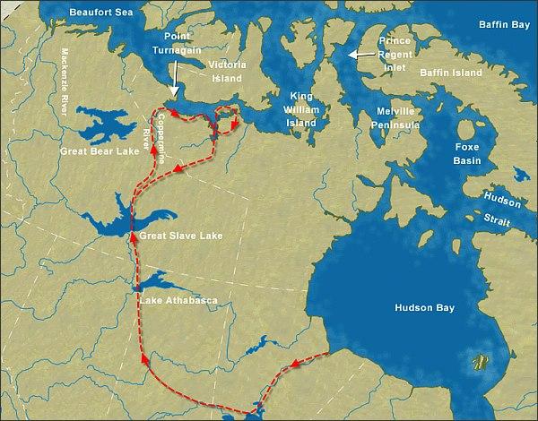 První Franklinova výprava, mapa