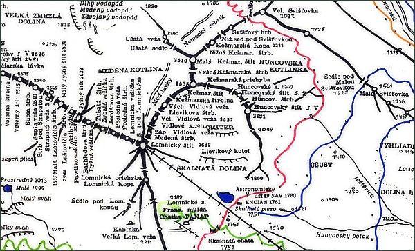 Kežmarský štít, mapa