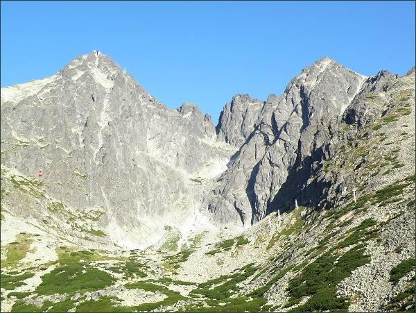 Lomnický štít, Vidlový hrebeň a Kežmarský štít nad Skalnatou dolinou