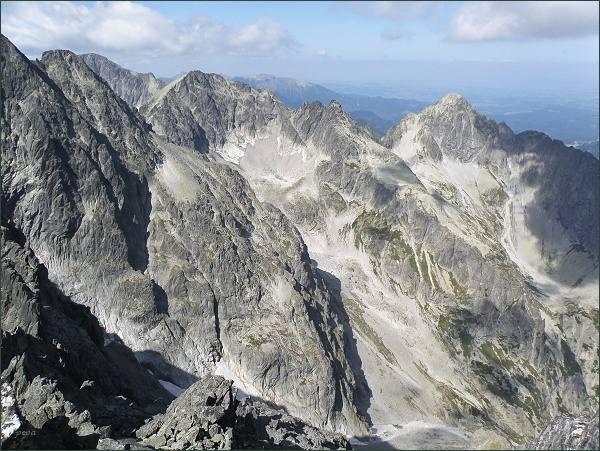 Baranie rohy, Čierny štít a Kolový štít (vpravo) z Kežmarského štítu