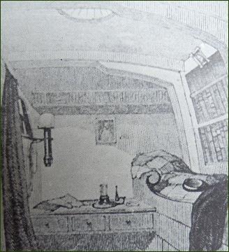 Fitzjamesova kajuta na Erebu (kresba J. Fitzjamese)