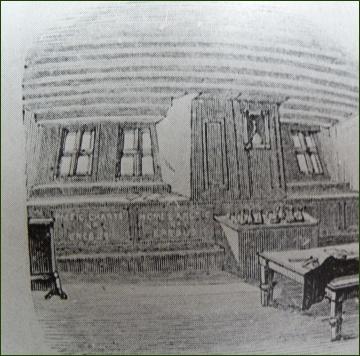 Franklinova kajuta na Erebu v kresbě J. Fitzjamese