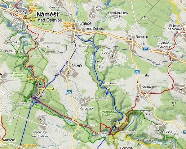 Údolí Oslavy a Chvojnice, mapa (zdroj: mapy.cz)