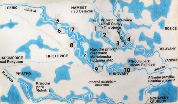 Mapka hradních zřícenin v údolí Oslavy a Jihlavy