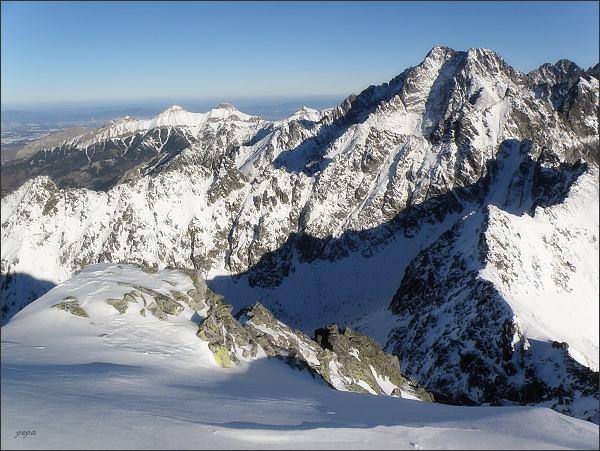 Ľadové štíty a Belianske Tatry ze Svišťového štítu