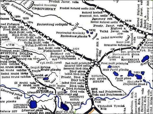 Svišťový štít, mapa