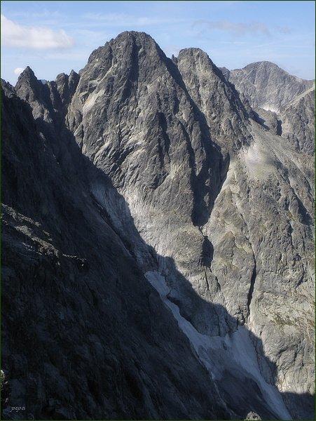 Posledná veža (vlevo), Pyšné štíty a Ľadový štít z Malého Kežmarského štítu