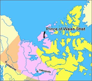 Úžina Prince Waleského, mapa