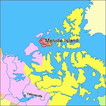 Melvillův ostrov, mapa