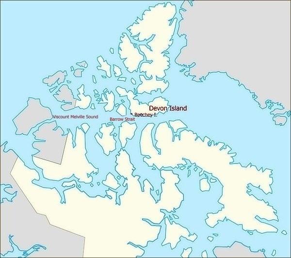 Devon Island, Beechey Island, Barrow Strait, Viscount Melville Sound