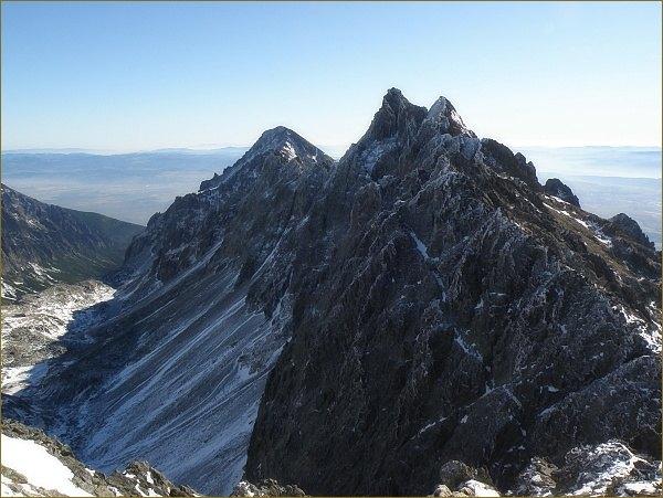 Bradavica a Slavkovský štít (vlevo) z Východnej Vysokej