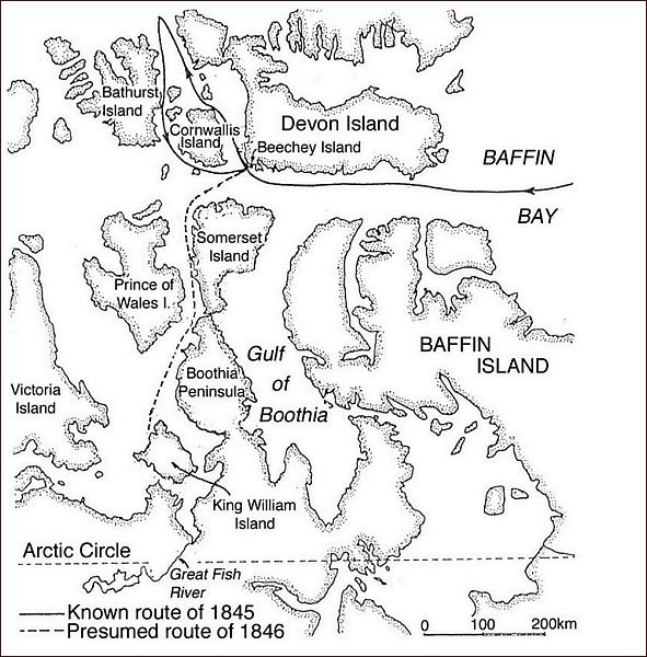 Franklinova expedice,mapa 1