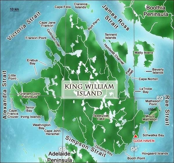 King William Island, mapa. Vyznačen mys Felix, mys Victory se nachází severně od Cape Jane Franklin