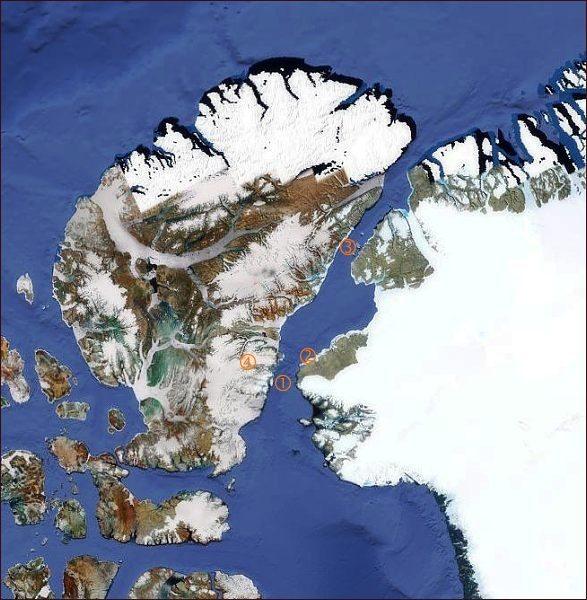 Grónsko a Ellesmerův ostrov. 1: Smithův průliv; 2: Rensselaerův přístav; 3:Kennedyhoprůliv; 4:Grinnellova země