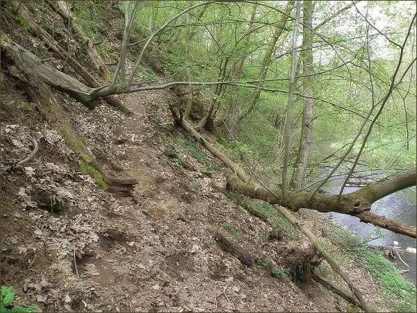 Úzká pěšinka vede místy vysoko ve strmé stráni nad řekou