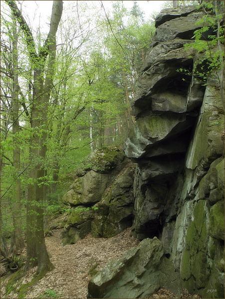 Divokost získává krajina nad řekou. Strmá skaliska, kolem nichž se proplétá stezka