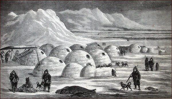 Eskymácká vesnice na pobřeží Frobisherova zálivu
