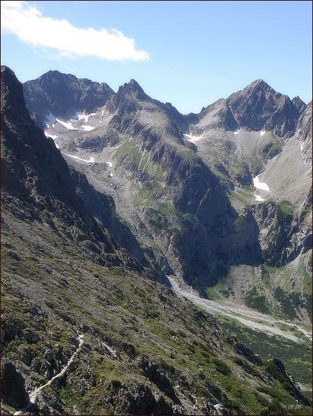 Pohled z Veľkej Svišťovky do Malej Zmrzlej doliny (vpravo) a Veľkej Zmrzlej doliny (vlevo). Na horizontu zleva Baranie rohy, Čierny štít a Kolový štít