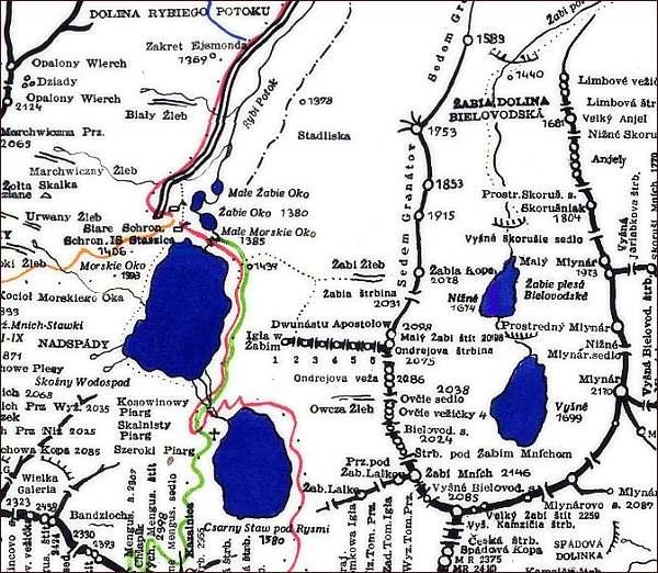 Žabí Mních, mapa