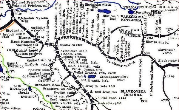 Bradavica, mapa