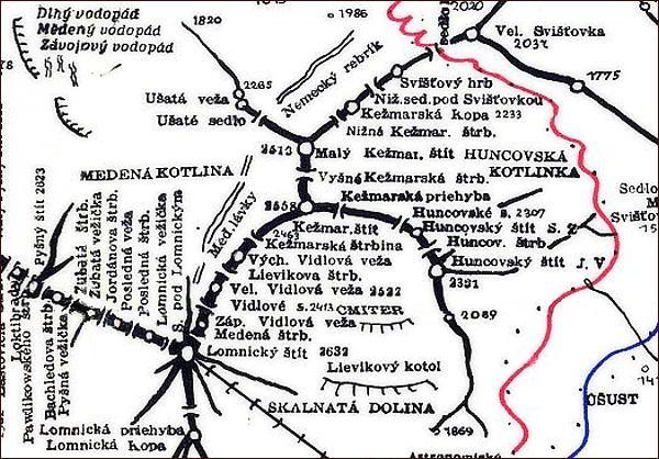 Huncovský štít, mapa