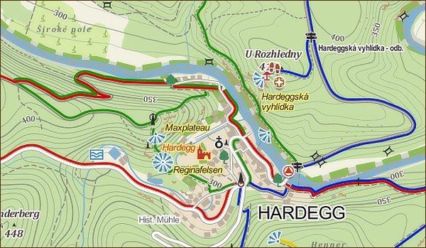 Okruh Hardeggem, mapa