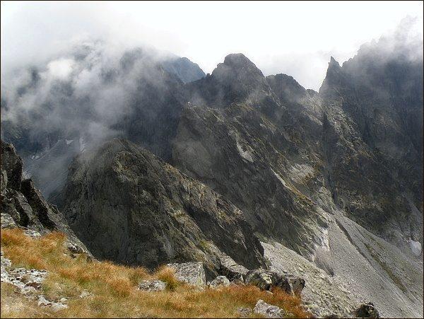 Snežné kopy, Východný Železný štít, Popradský Ľadový štít a Drúk ze Západného Železného štítu