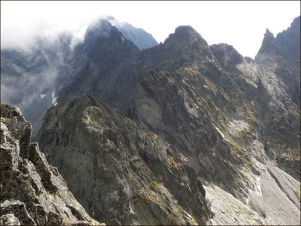 Snežné kopy, Východný Železný štít, Kačací štít, Popradský Ľadový štít a Drúk ze Záp. Železného štítu
