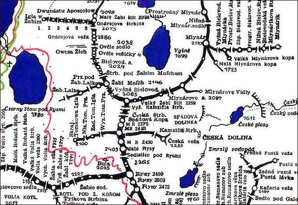 Veľký Žabí štít, mapa