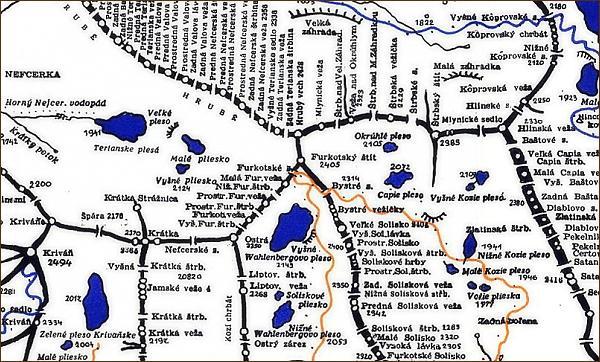 Hrubý vrch, mapa
