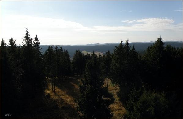 Slavkovský les z rozhledny na Blatenském vrchu