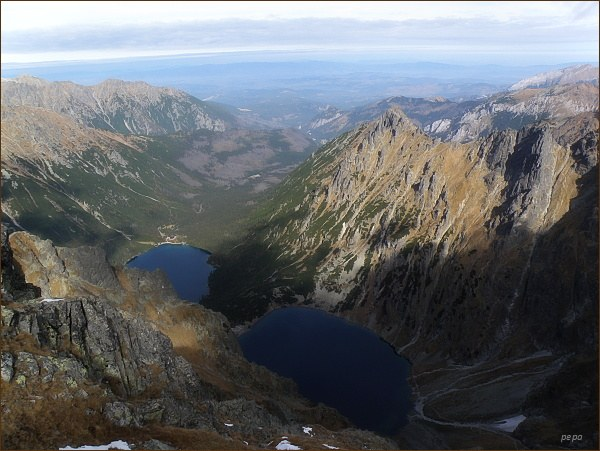 Dolina Rybiego Potoku, Czarny Staw a Morskie Oko z Volieho chrbátu