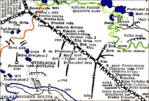 Prostredný hrot, mapa