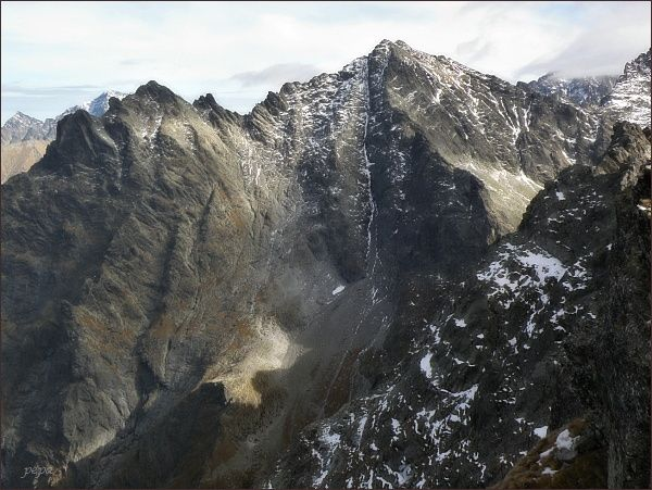 Spádová kopa (vlevo), Malé Rysy a Rysy z Hincovej veže