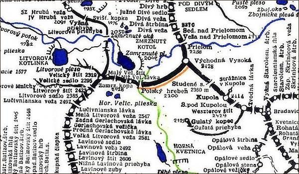 Litvorový štít, mapa