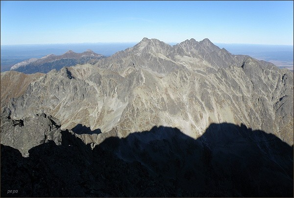 Ľadové štíty, Pyšné štíty a Lomnický štít ze Zadného Gerlachovského štítu