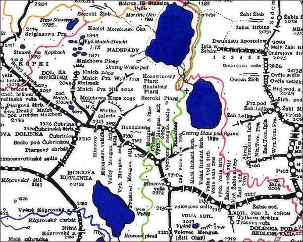Prostredný Mengusovský štít, mapa