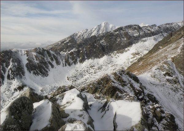 Furkotská dolina, hřeben Ostrej a Kriváň z Predného Soliska