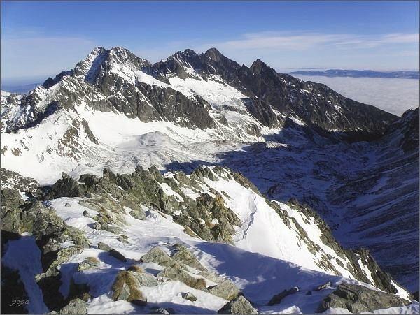 Ľadové štíty, Pyšné štíty, Lomnický štít a Prostredný hrot z Východnej Vysokej
