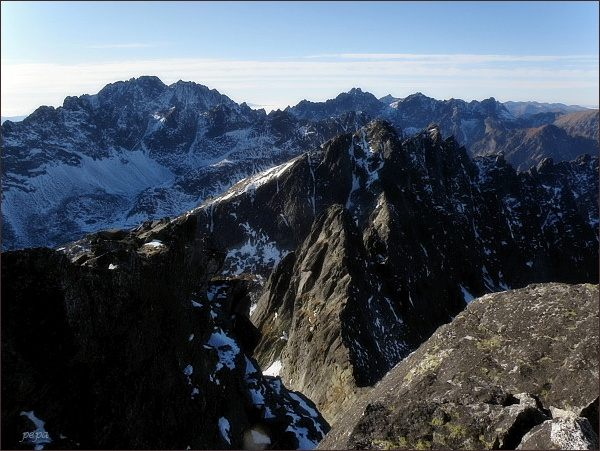 Javorové štíty (uprostřed) ze Širokej veže