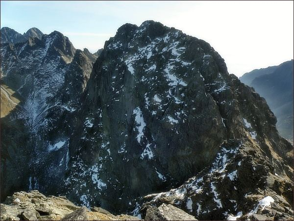 Javorový štít (vpravo západní vrchol) z Malého Javorového štítu