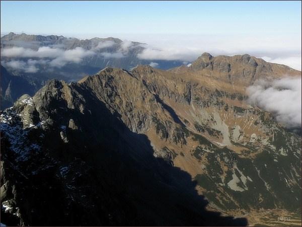 Javorový hrebeň a polské Tatry z Javorového štítu