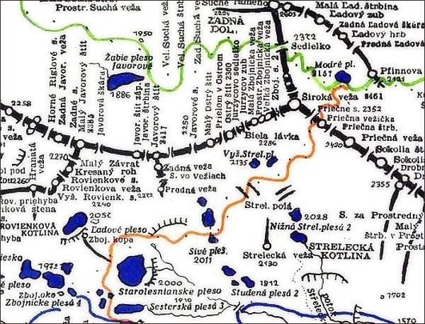 Javorový štít, mapa