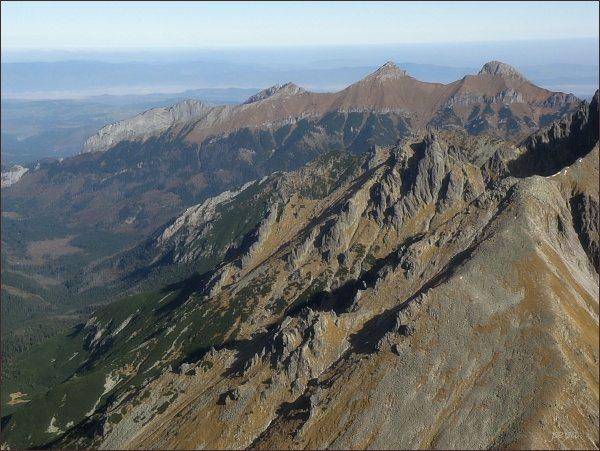 Belianske Tatry (zprava Ždiarska vidla, Havran, Nový vrch a Muráň) z Malého Javorového štítu