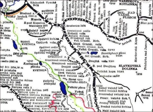 Veľká Granátová veža, mapa