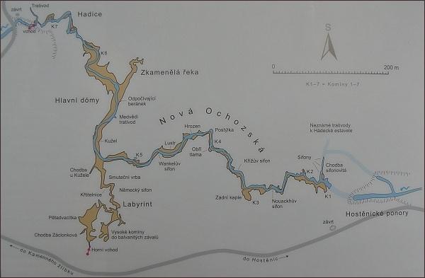 Ochozská jeskyně, mapa