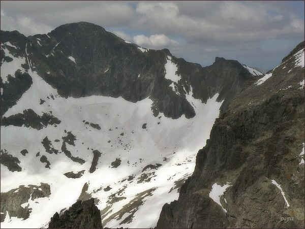 Ľadový štít a Snehový štít (vpravo) ze Spišského štítu
