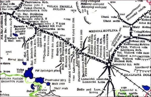 Spišský štít, mapa