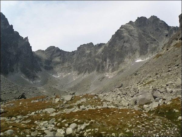 Závěr Batizovskej doliny. Zleva Drúk, Popradský Ľadový štít, Kačací štít a Batizovský štít